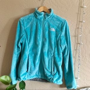 north face zip up - blue